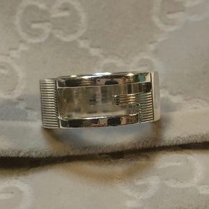 Authentic Gucci G Logo Silver Ring Unisex size 5.5